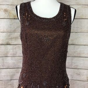 Adrianne Papell Beaded, Metallic Top INCREDIBLE!